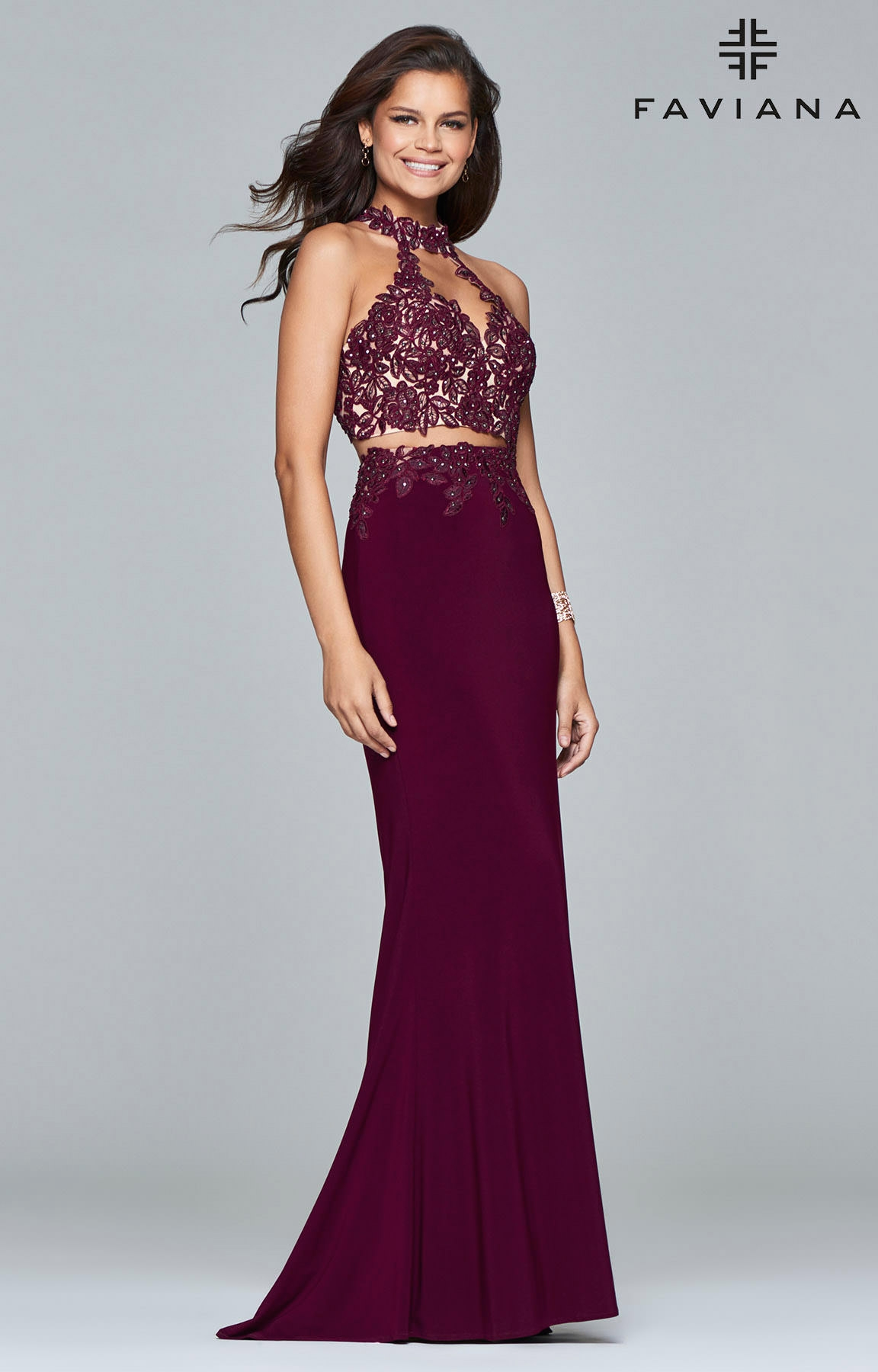 Faviana 7967 Jewel Toned Two Piece With Lace Gown Prom Dress