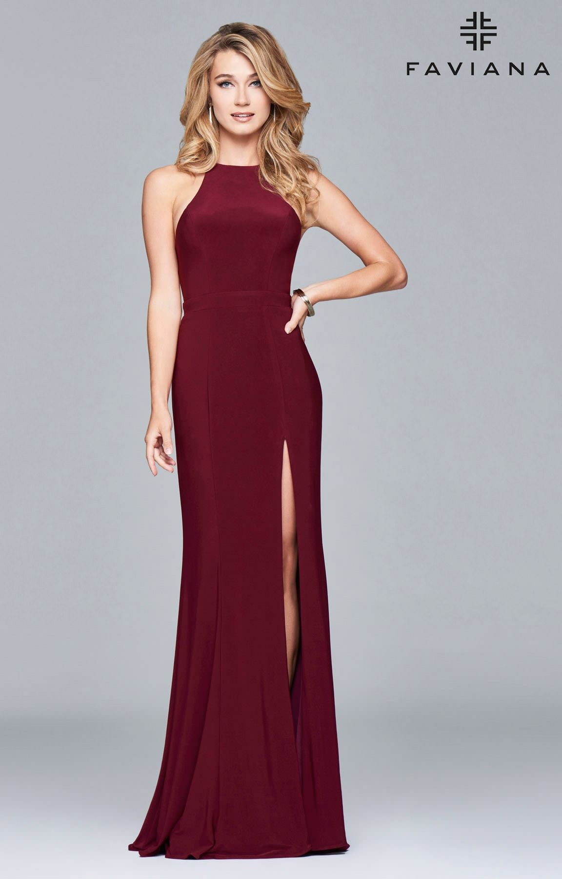 Faviana 7976 Ilex Halter High Slit Formal Dress Prom Dress