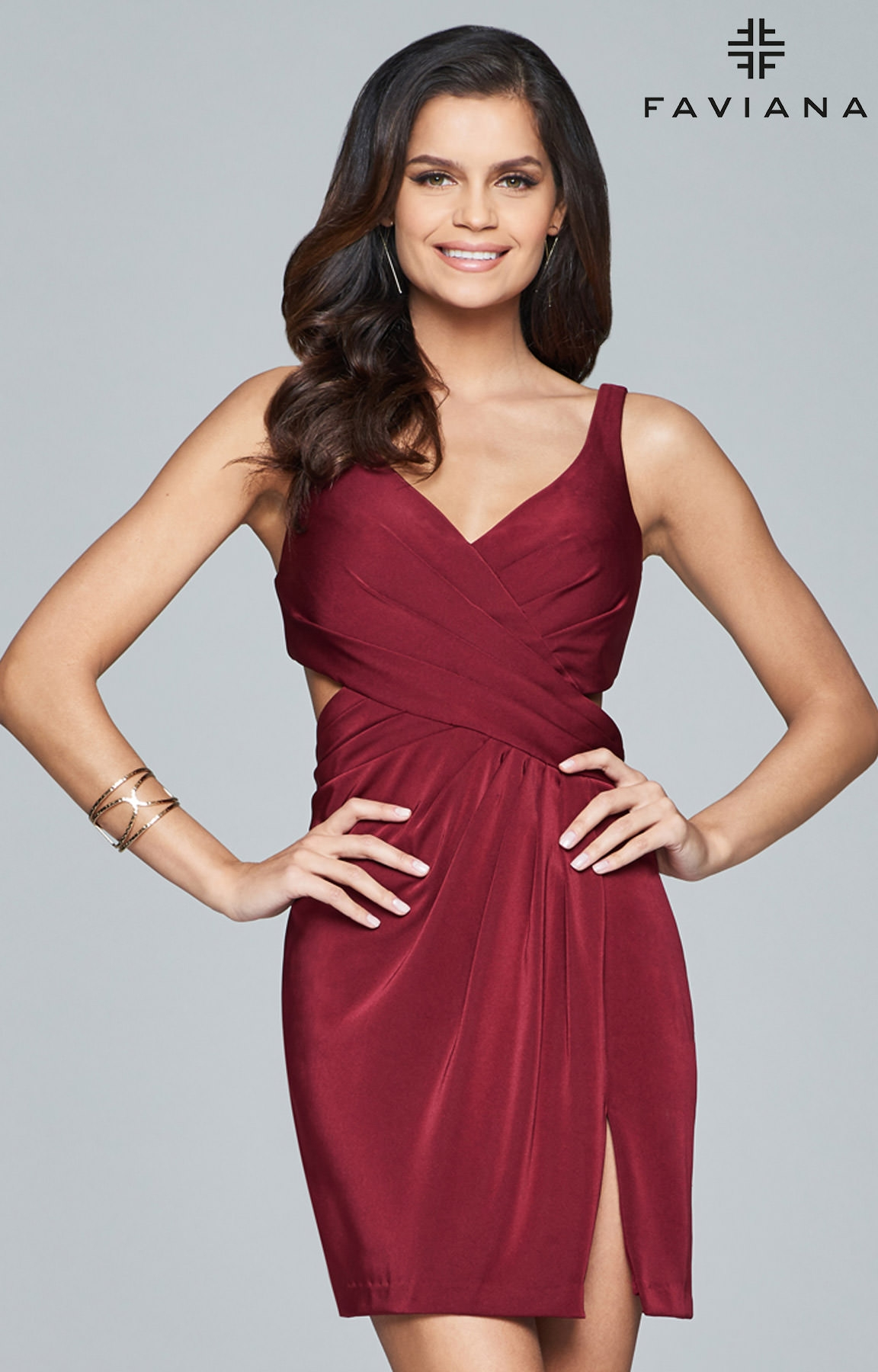 b35a3aebafc Faviana 8052 - V Neck Cocktail Dress with Ruched Criss-Cross Bodice and Open  Back Prom Dress