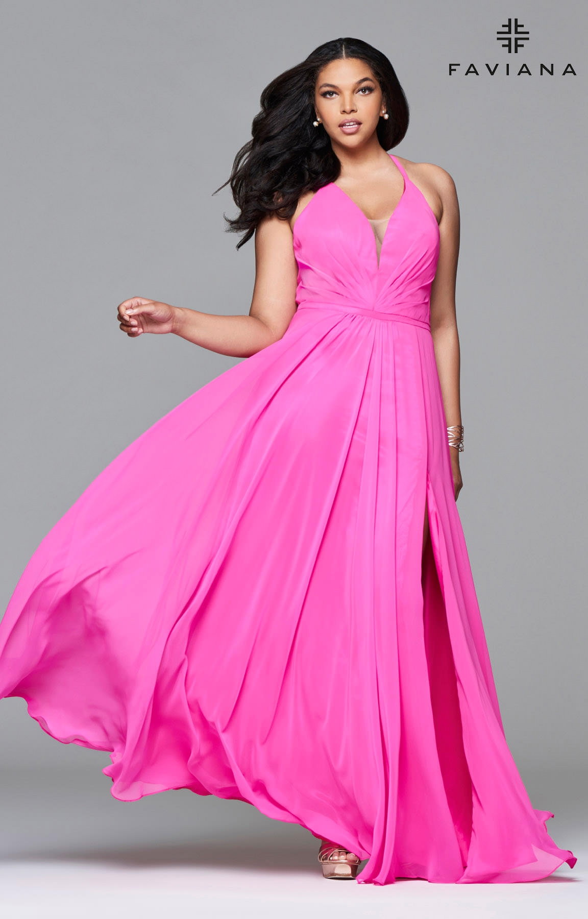 Faviana 9397 Chiffon Plunging V Neck With Lace Up Back