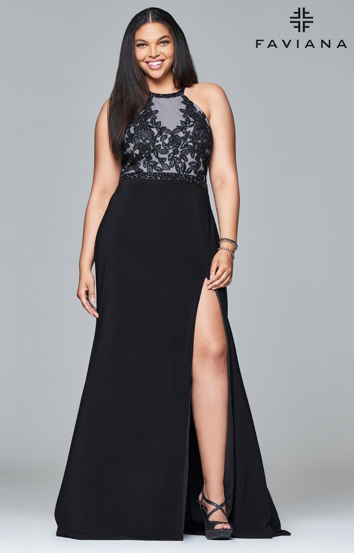 Faviana 9401 Plus Size Sexy Halter Prom Dress