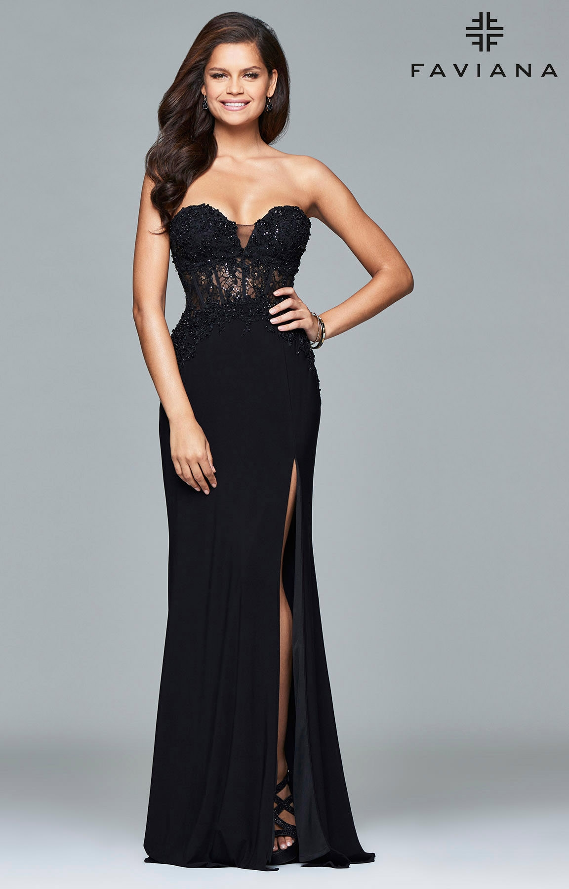 Faviana S7907 Corset Style Strapless Dress Prom Dress
