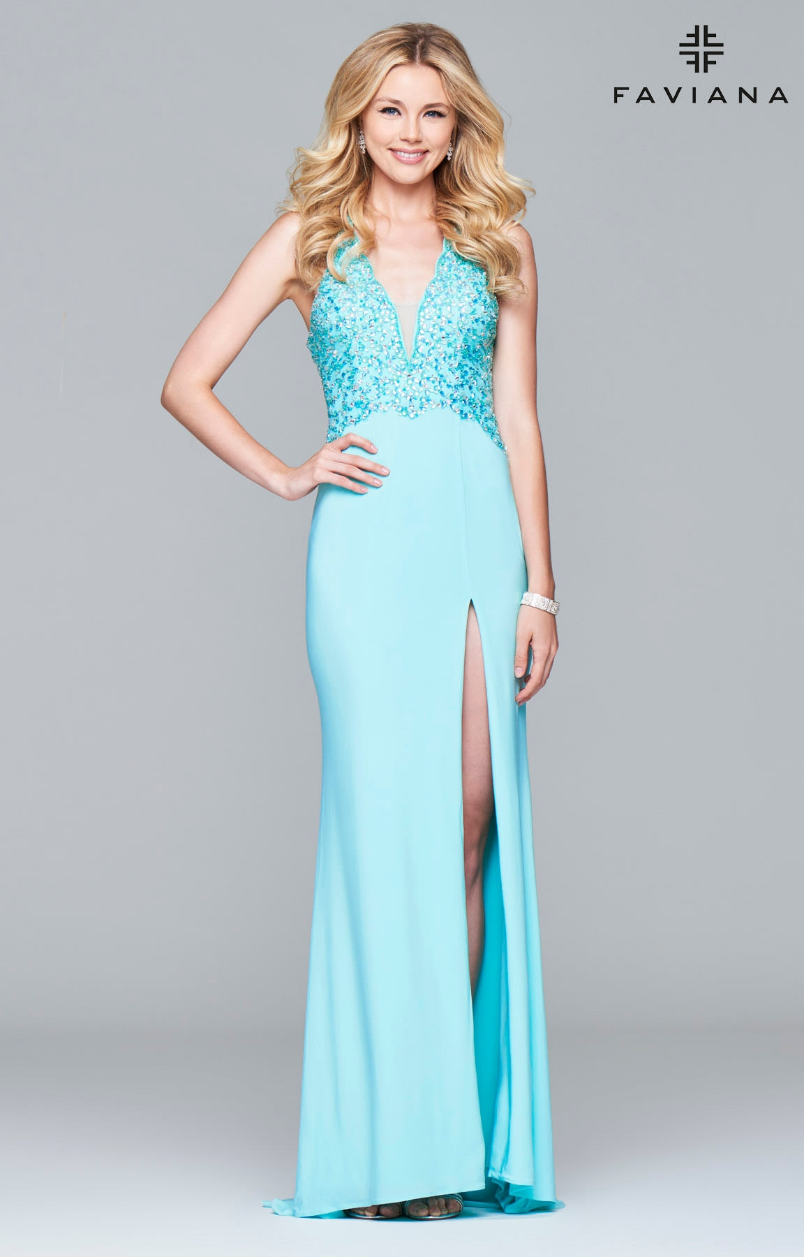 Faviana S7908 - Beaded Halter Jersey Dress Prom Dress