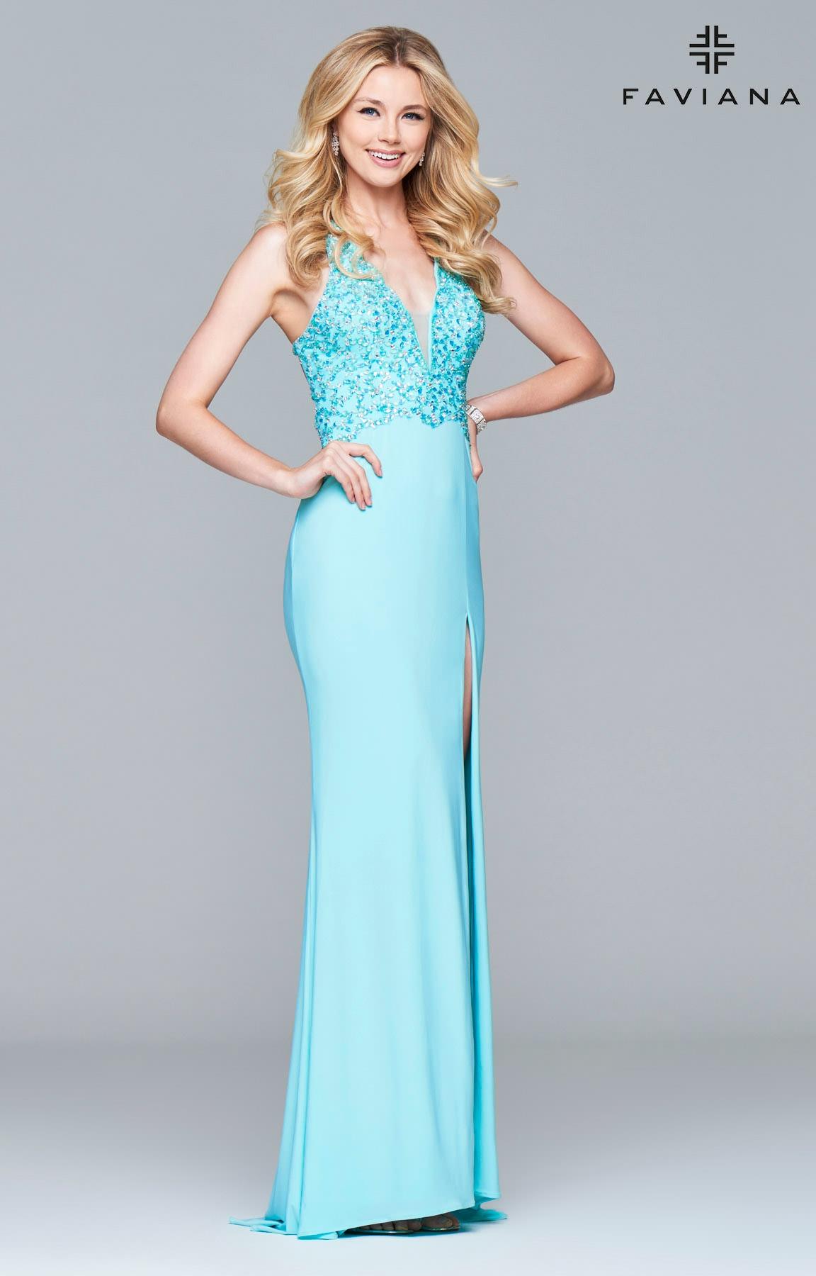 Faviana S7908 - Beaded Halter Jersey Dress Prom Dress