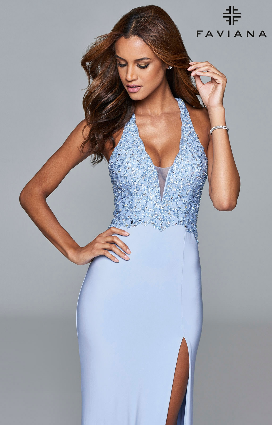 Faviana S7908 Beaded Halter Jersey Dress Prom Dress