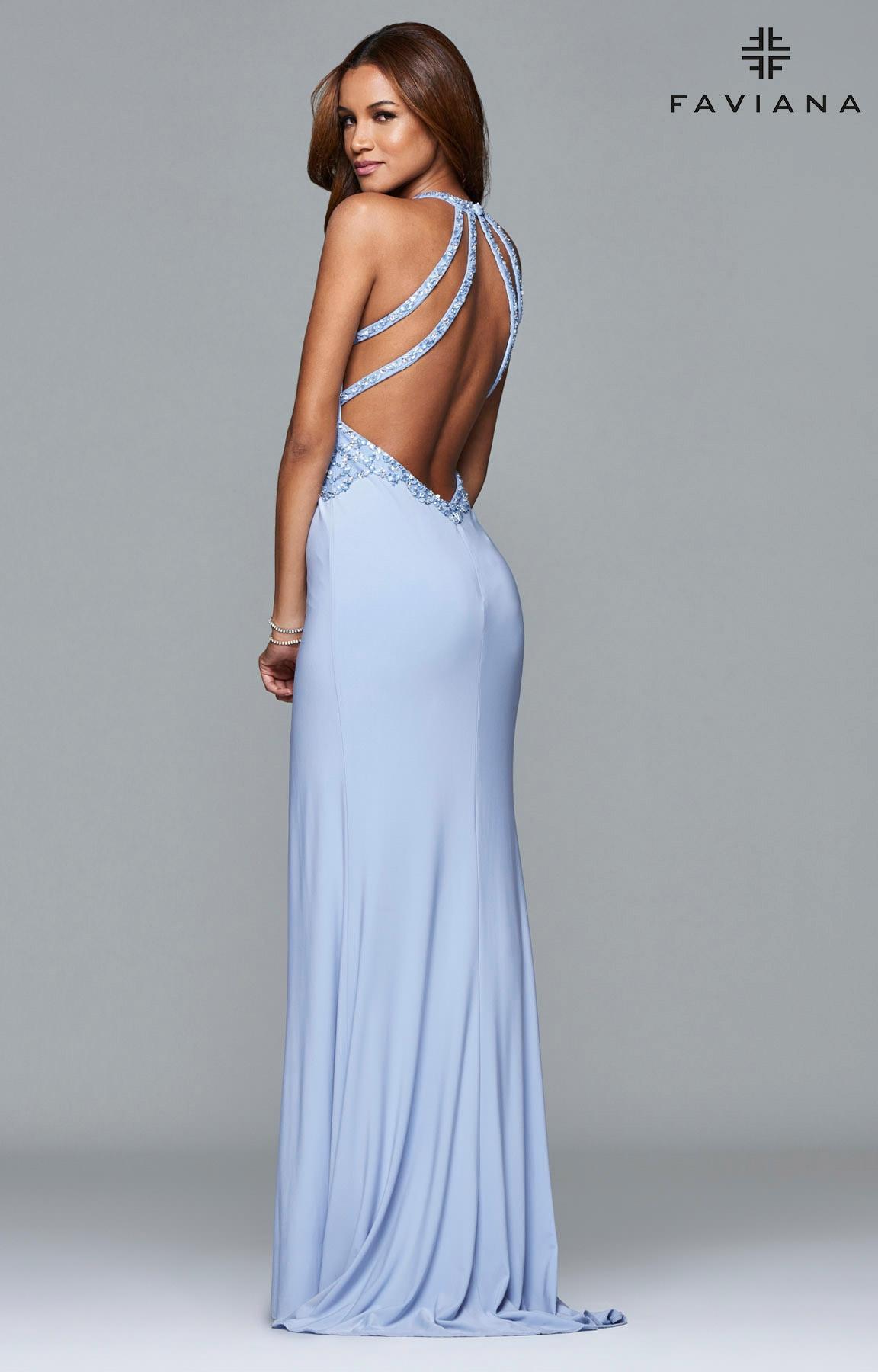 Faviana S7908 Beaded Halter Jersey Dress Prom Dress