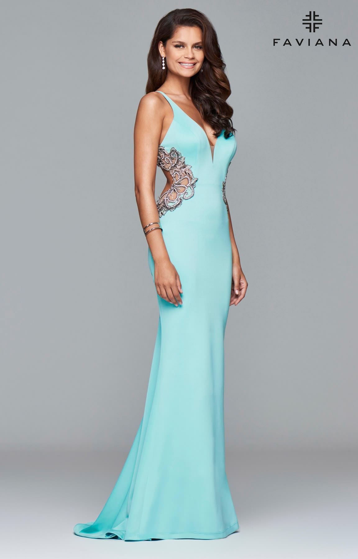 Faviana S7916 - Open Back Detailed Gown Prom Dress