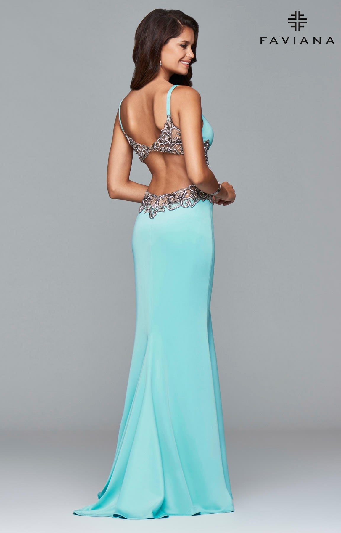 Faviana S7916 Open Back Detailed Gown Prom Dress
