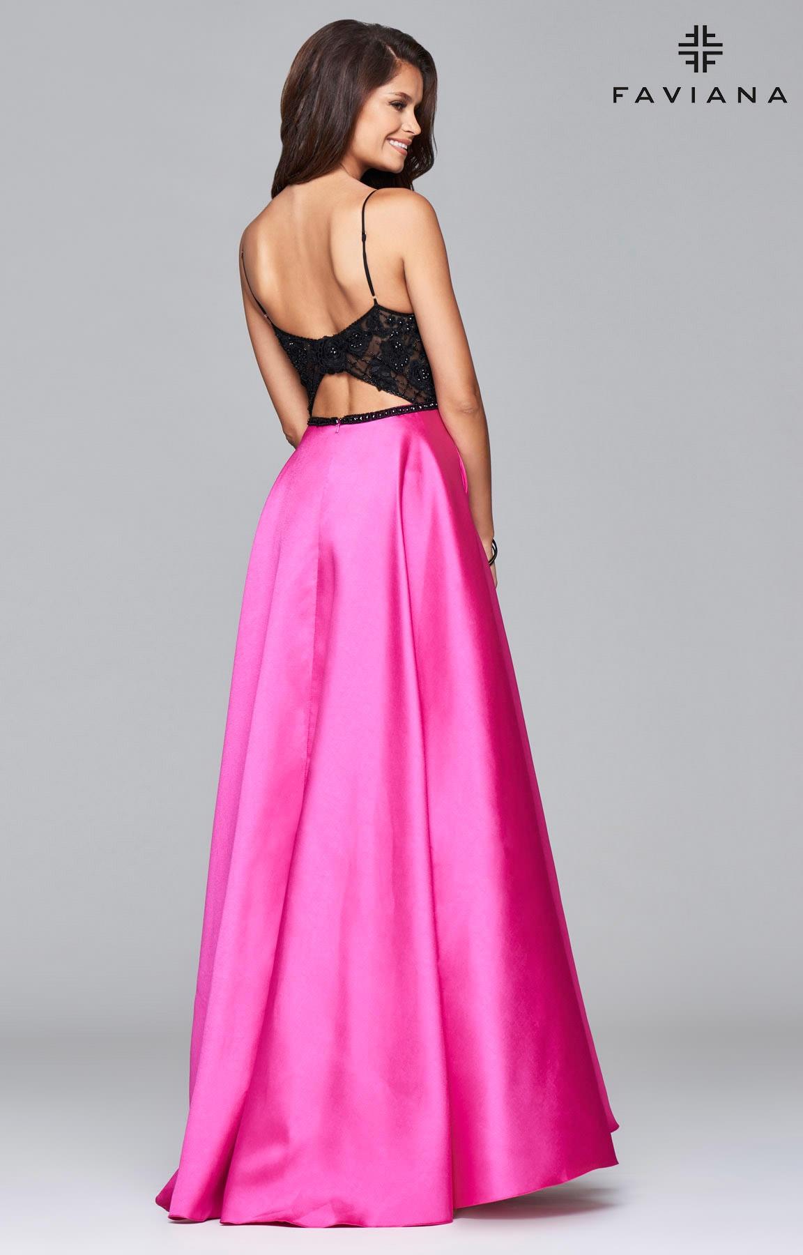 Faviana S7947 Skinny Strap Satin Ballgown Prom Dress