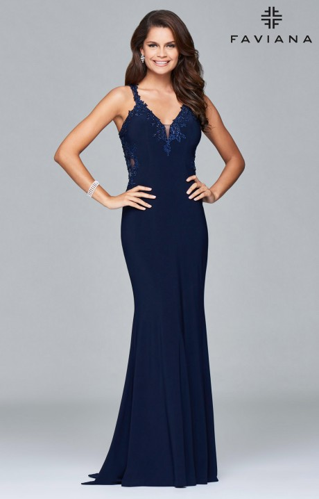 Faviana S7999 Sleeveless Jersey Open Back Dress With