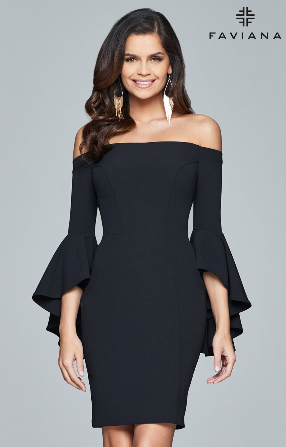 Faviana S8076 Short Fitted Dress With Off The Shoulder