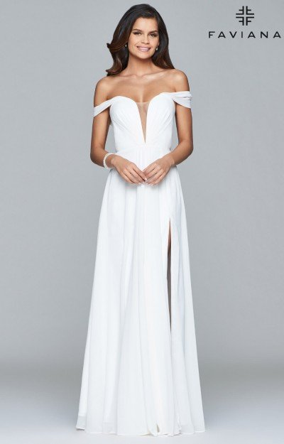 Long Off the Shoulder Dress with Corset Back