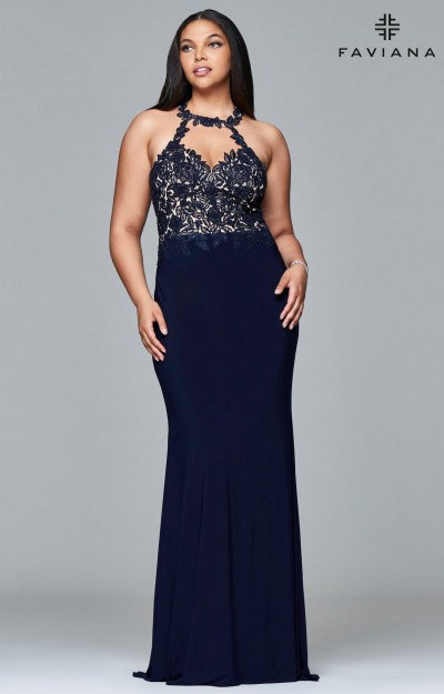 Jersey Halter Sweetheart Neckline with Beaded Lace Applique and Open Back