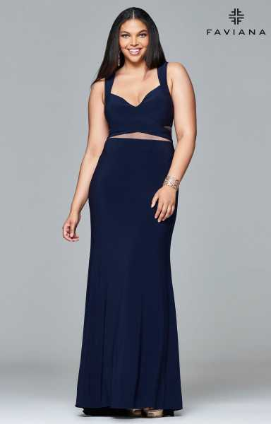 Faviana 9399 Mock 2-Piece and Plus Size picture 2