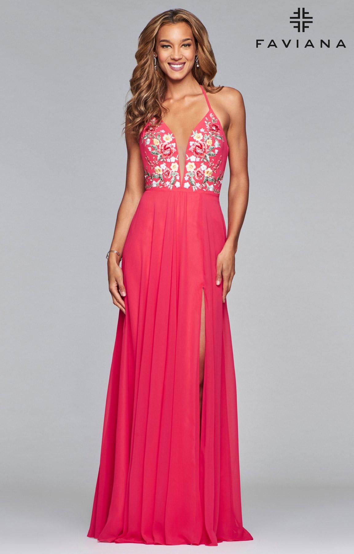 Faviana 10000 Long A Line Chiffon Prom Dress