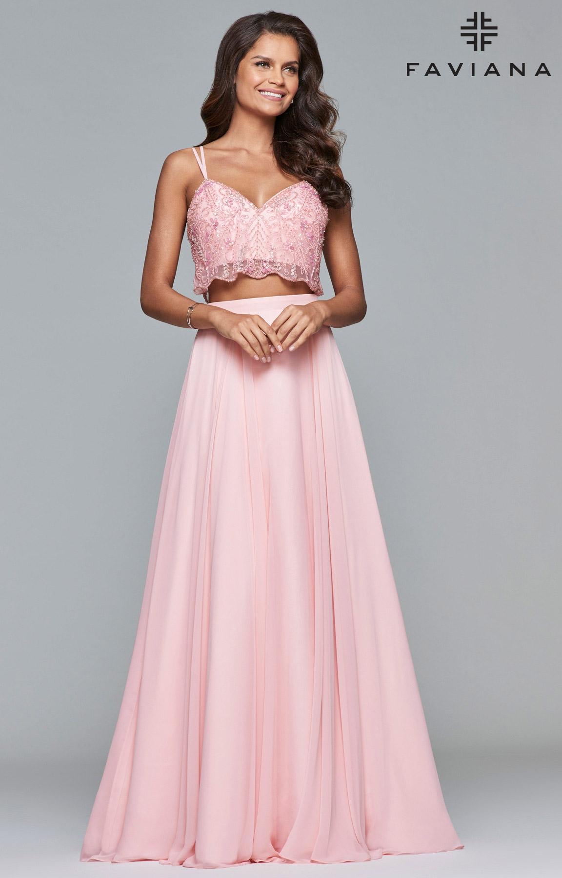 Faviana 10042 - 2 Piece A-Line Chiffon Prom Dress