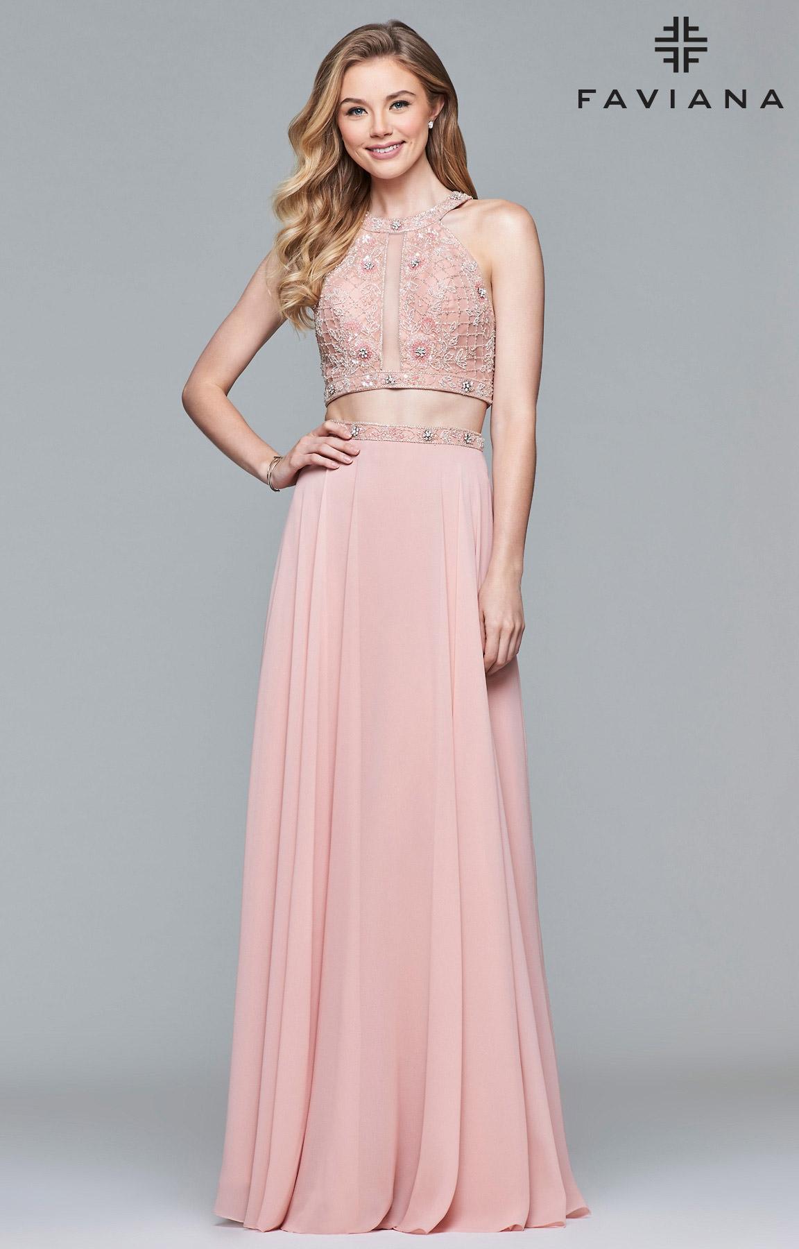 Faviana 10059 - 2 Piece A-Line Chiffon Prom Dress