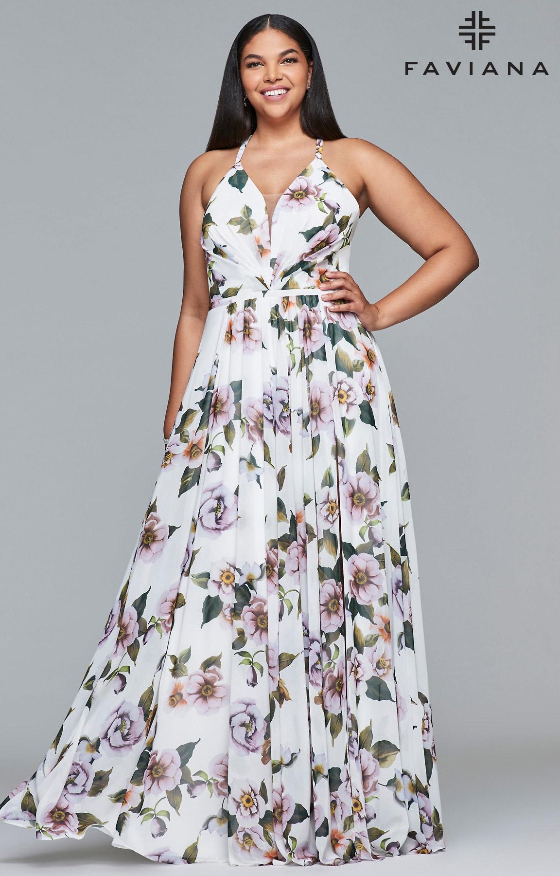 Faviana Dress Flower Print