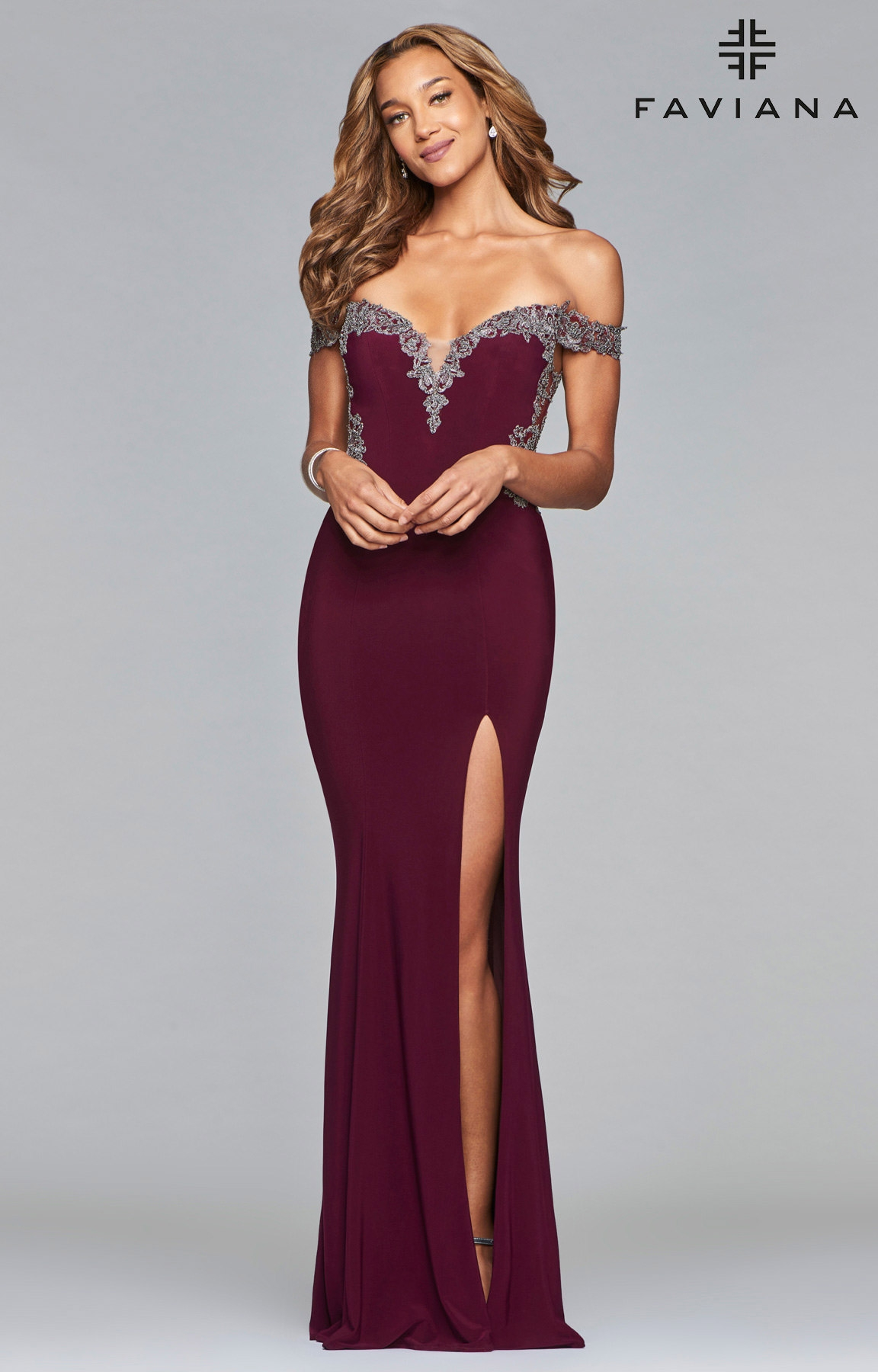 Faviana S10001 Long Fitted Off The Shoulder Jersey Prom