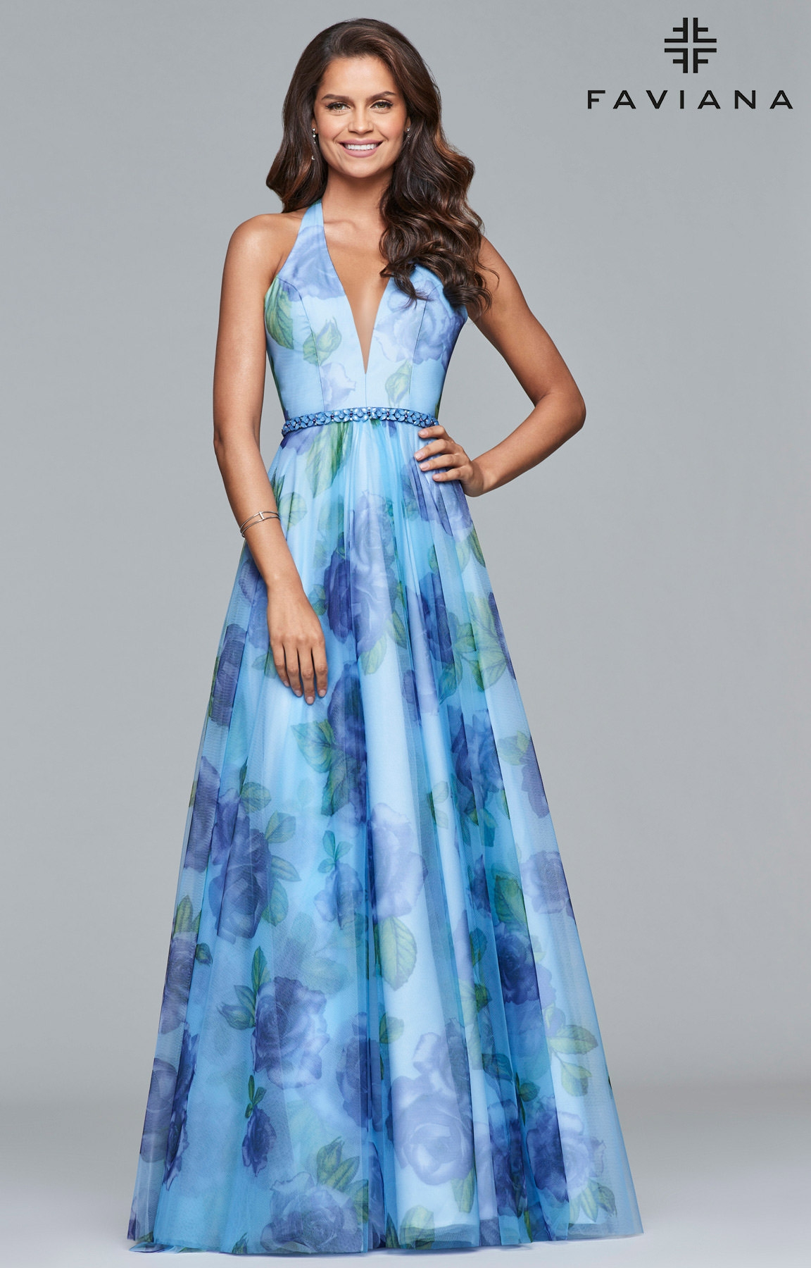 Faviana S10036 - V-Neck Floral Printed Tulle Prom Dress