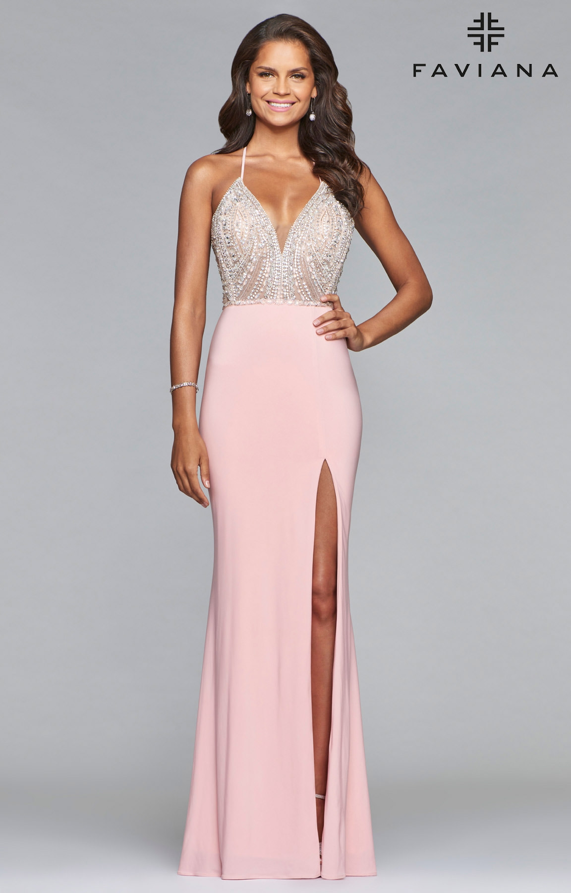 Faviana S10060 - Fitted Jersey V-Neck Prom Dress