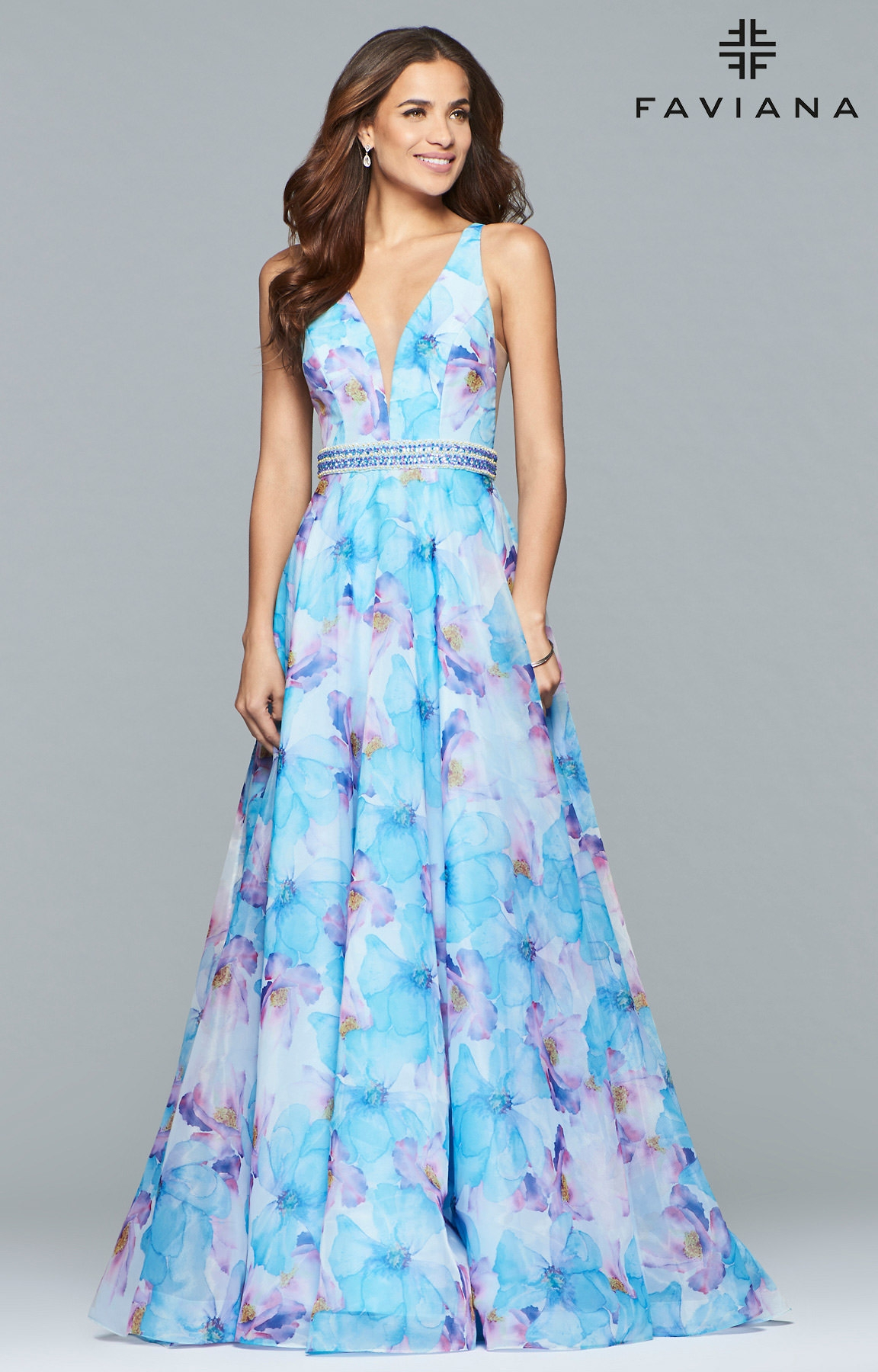 Faviana S10063 - Floral V-Neck Dress With Low Cut Back Prom Dress