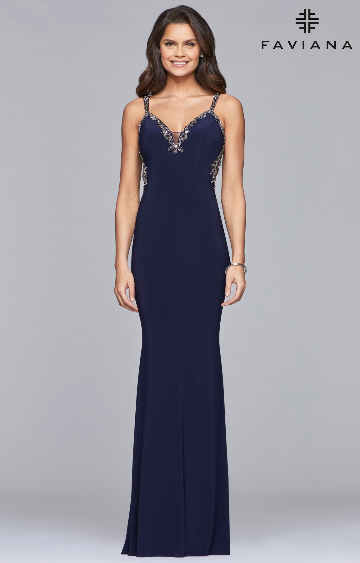 90cac140d3 Faviana S10107 - Fitted Jersey Open Back Long Dress Prom Dress