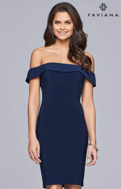 Off the Shoulder Fitted Short Jersey Dress