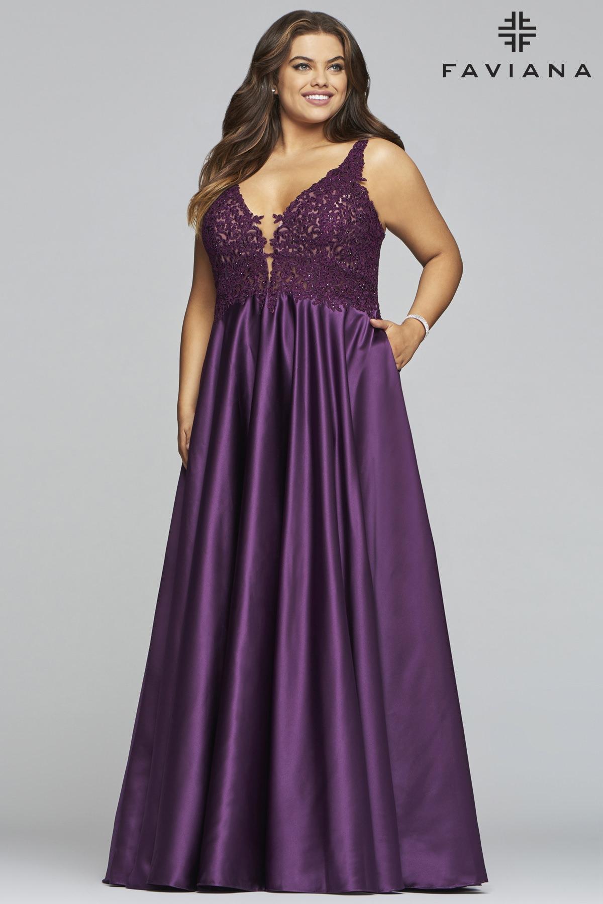 4fb3b4853cc Faviana 9462 - V-Neckline Lace Bodice Satin Dress with Pockets