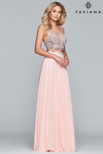 2d8afb2c80e5a Gorgeous Beaded Two Piece Dress $458.00. Faviana S10220. Faviana S10220 Key  To My Heart ...
