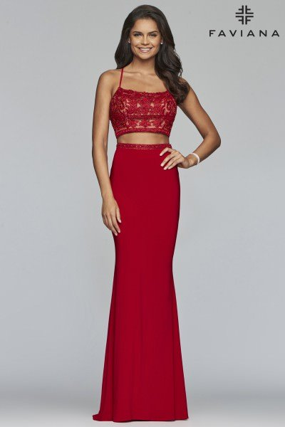 147dc61305a High Neckline Jersey Knit Open Back Gown $358.00. Faviana S10272