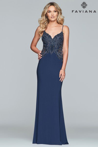 57f0f979890 Faviana S10292 Lace V-Neckline Fitted Gown  378.00