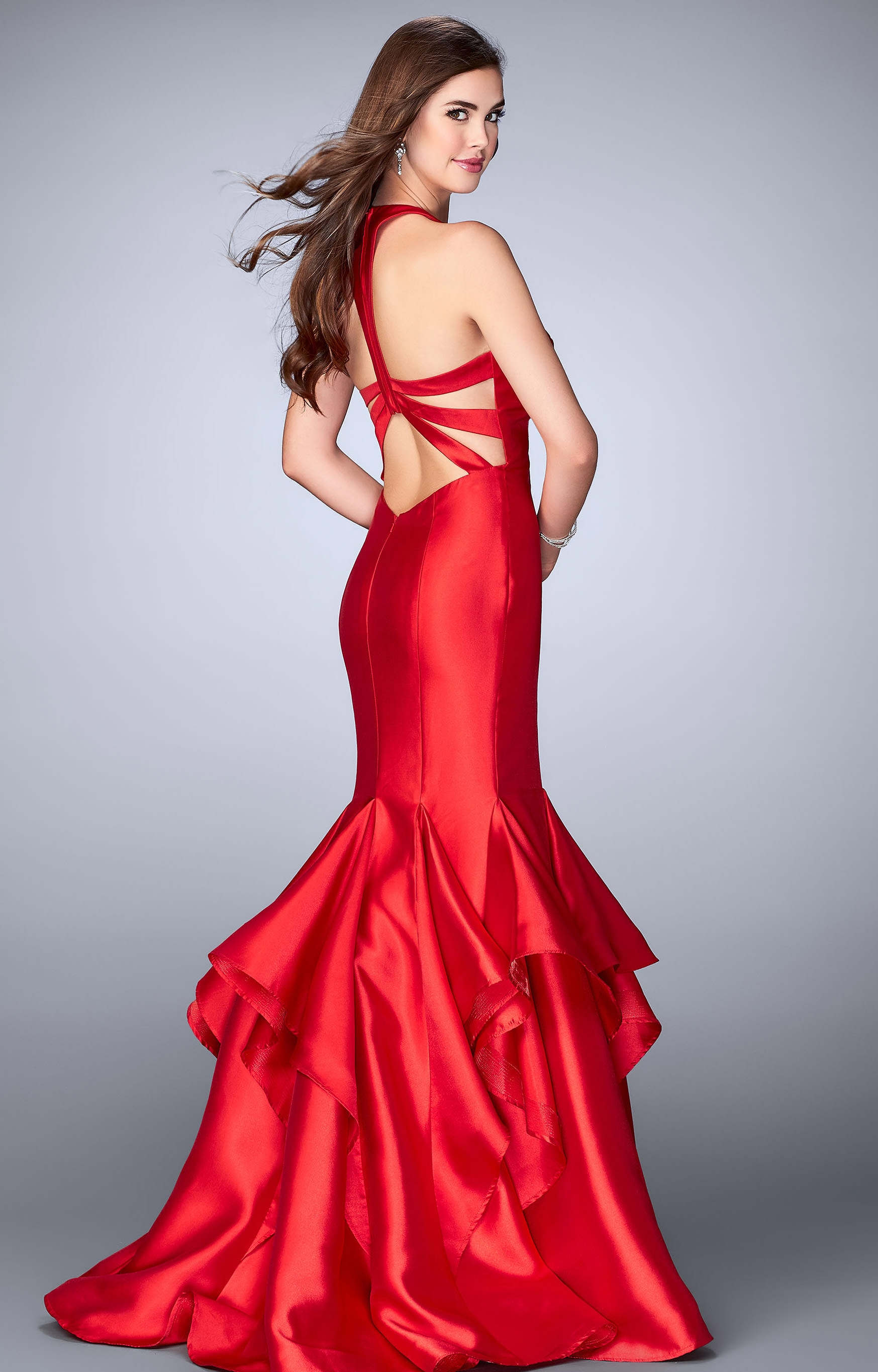Gigi 24197 Deep V Neckline With Ruffle Fit And Flare