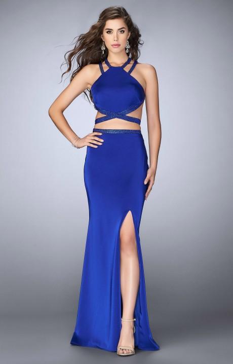 Gigi 24420 2 Piece High Slit Open Back Long Jersey Dress