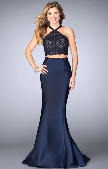 Gigi 24491 2 Piece Lace Halter Top Mikado Mermaid Dress