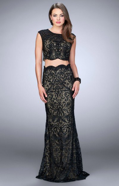 Two Piece Scalloped Lace Dress