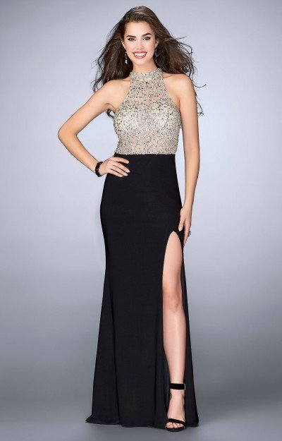 Beaded Halter Top Open Back With High Slit