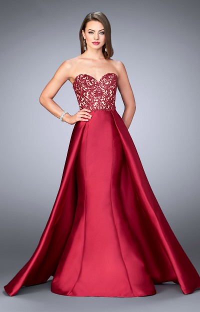 Elegant Strapless Sweetheart Fit and Flare with Cape