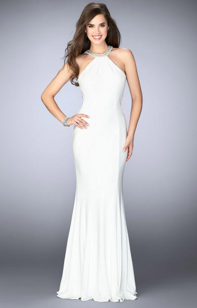 Simplistic Jersey Gown, Beaded Neckline with Open Back