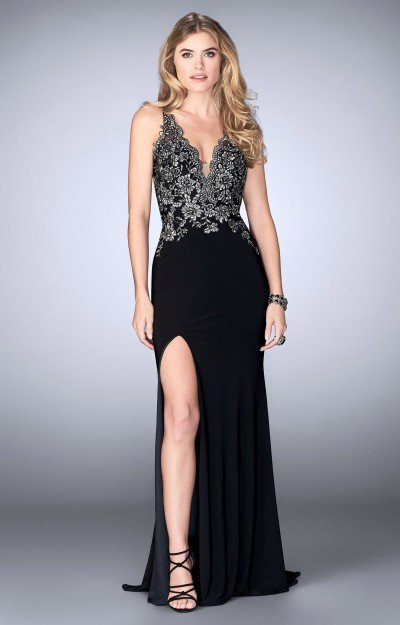 Sexy Jersey gown with a High Slit Dress