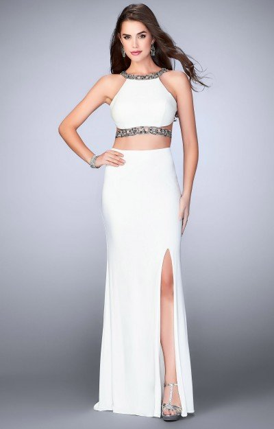 2 Piece Fitted Beaded Halter Jersey High Slit Dress