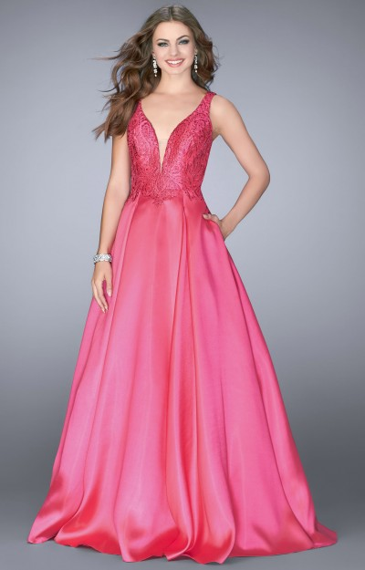 Deep V-Neckline Mikado Ball Gown with Pockets
