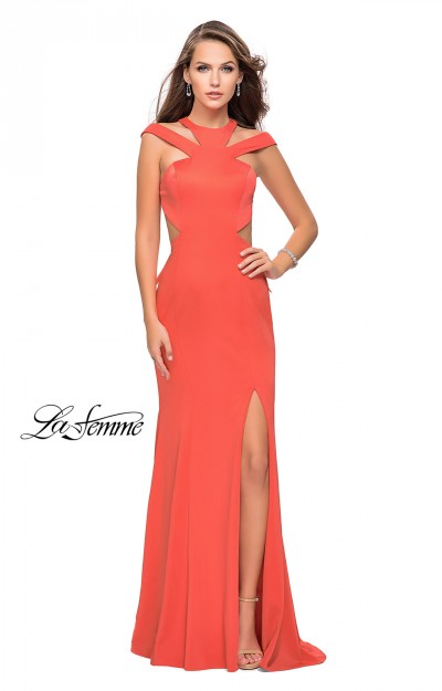 Coral and Black Long Formal Dresses