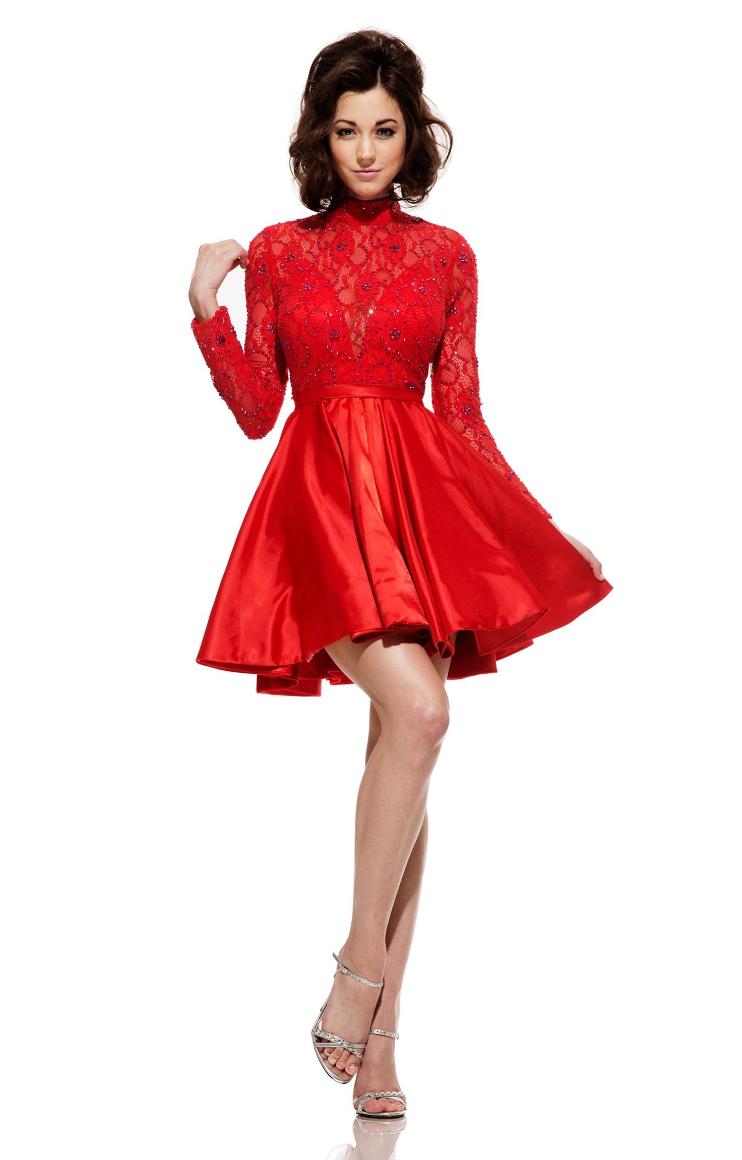 Johnathan Kayne 5000 Vivica Long Sleeve Cocktail Prom Dress