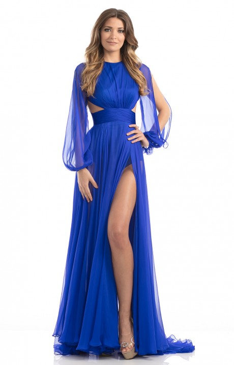 Johnathan Kayne 7010 - Open Sleeved Chiffon with High Slit