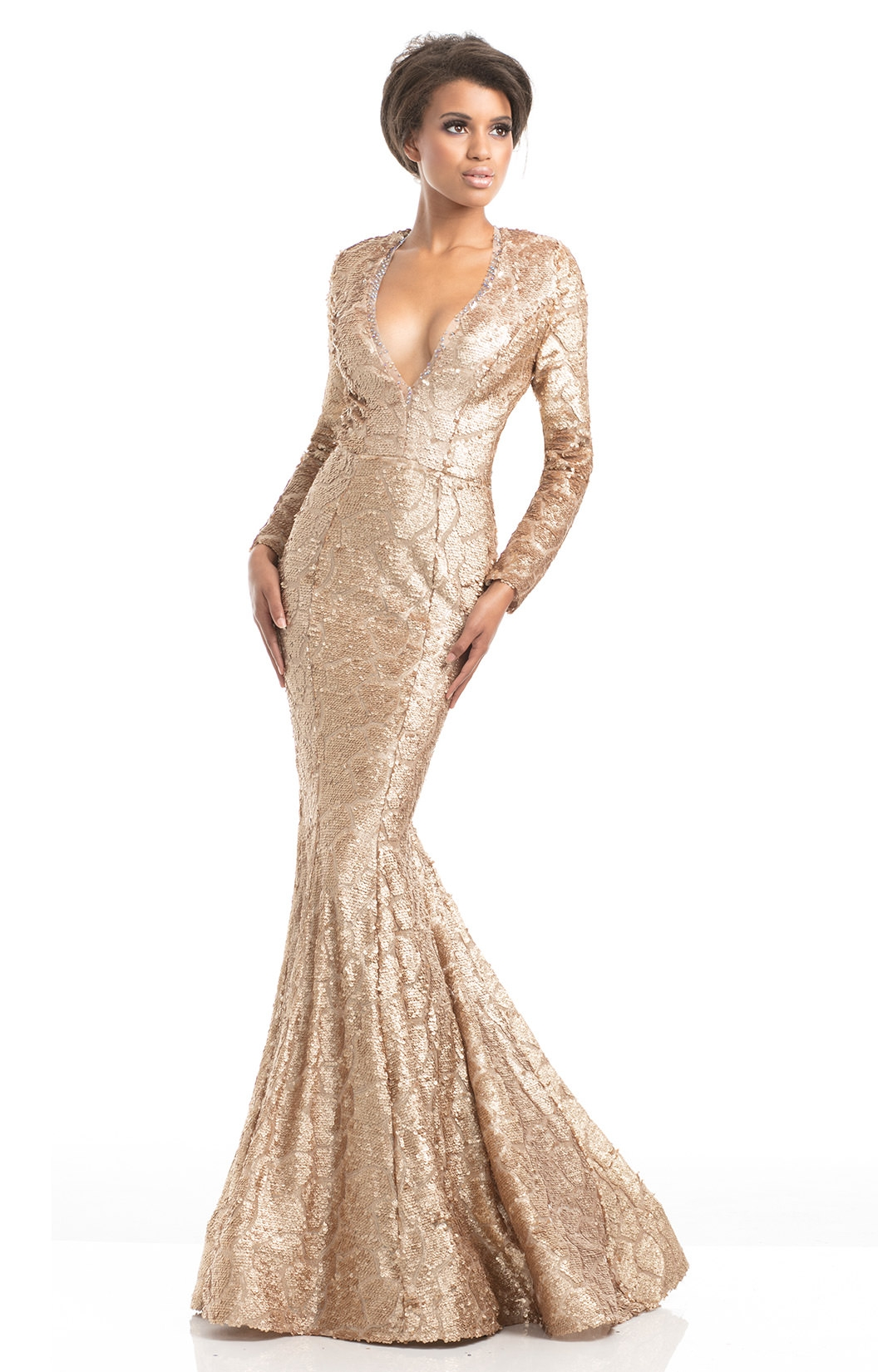 Johnathan Kayne 7025 - Deep V-Neck Fitted Sequin Mermaid Dress Prom ...