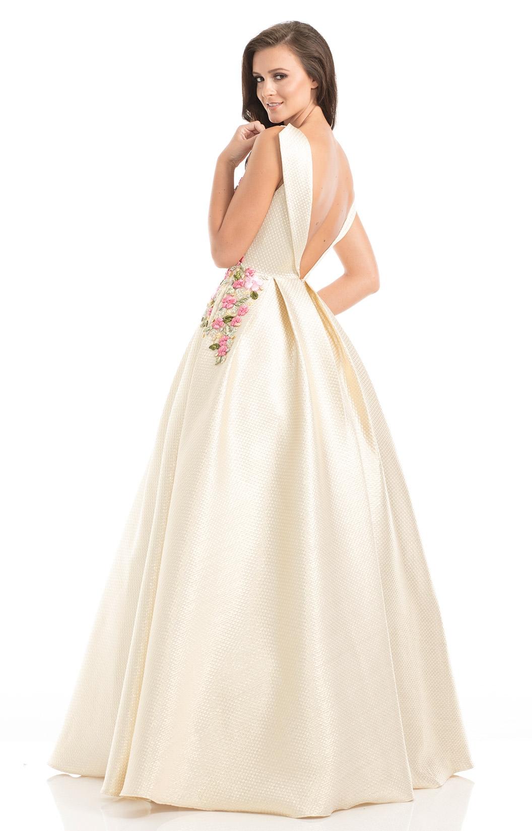 Johnathan Kayne 7030 Ribbon Lace Open Back Ballgown Prom