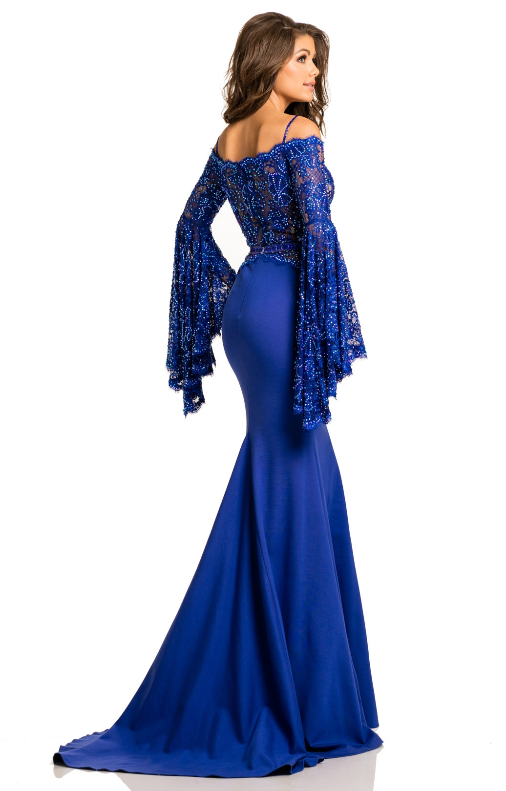 Johnathan Kayne 7244 Long Fitted Off The Shoulder Prom Dress