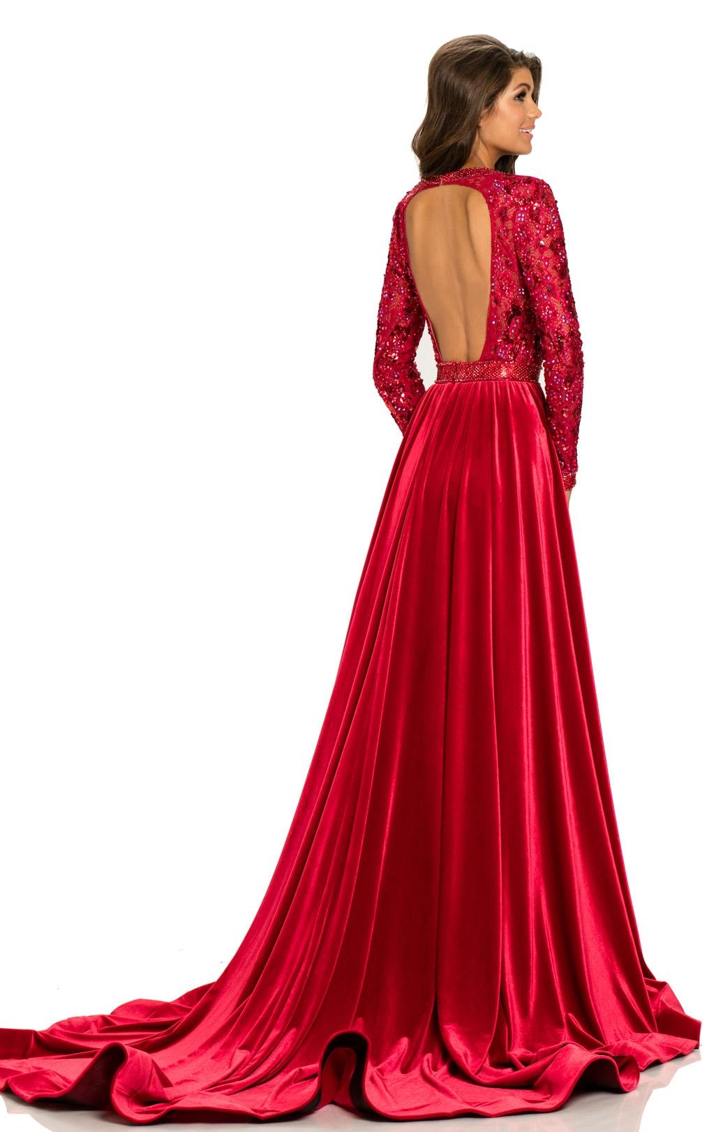 Johnathan Kayne 8013 Fitted Velvet V Neck Prom Dress