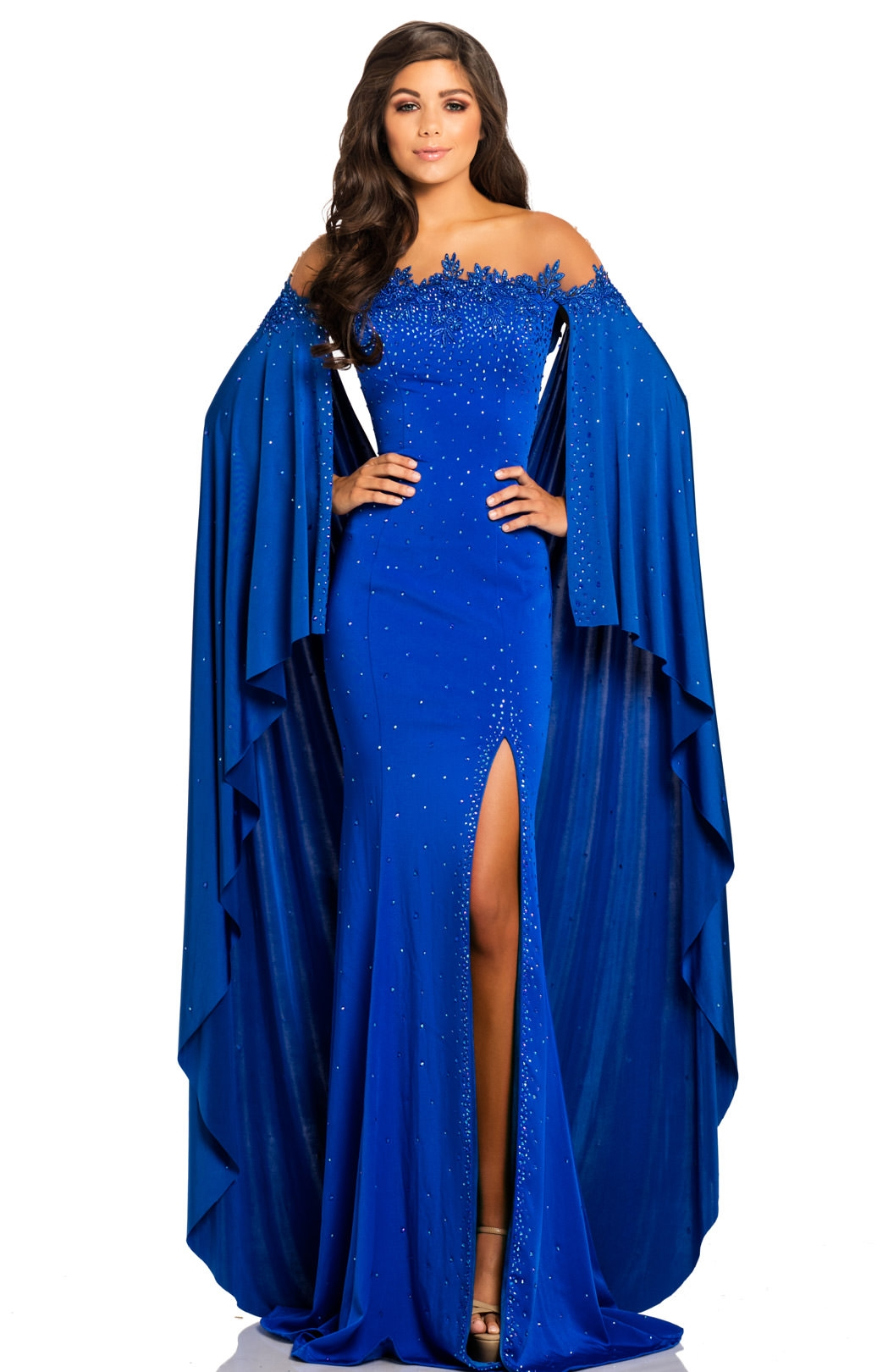 Johnathan Kayne 8039 Fitted Stretch Crepe Cape Prom Dress